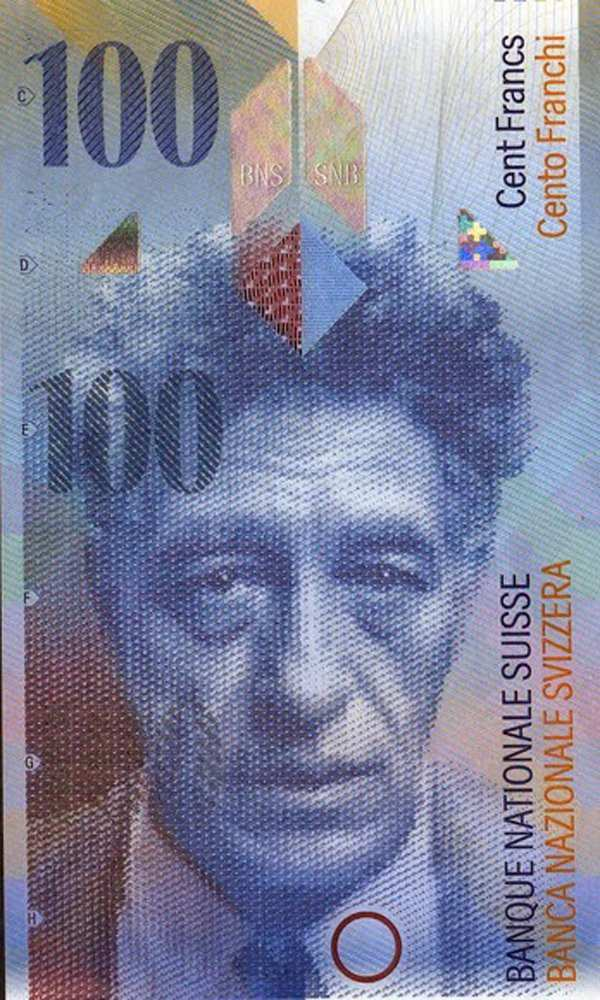Alberto Giacometti on the bank note hundred