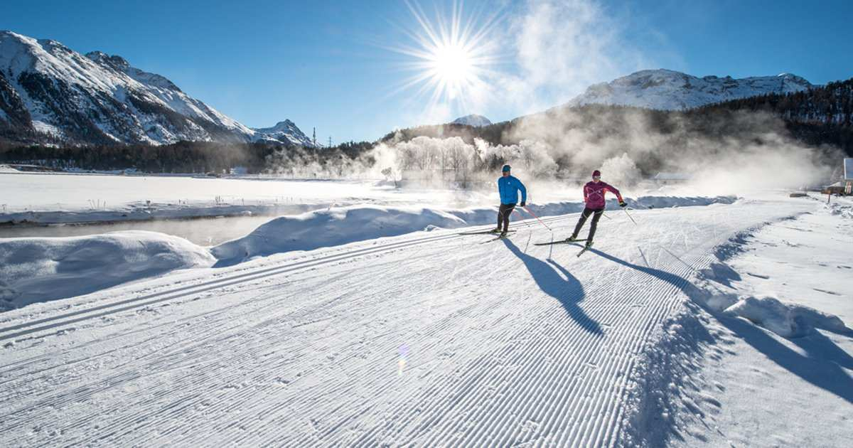 cross-country ski run and map Maloja