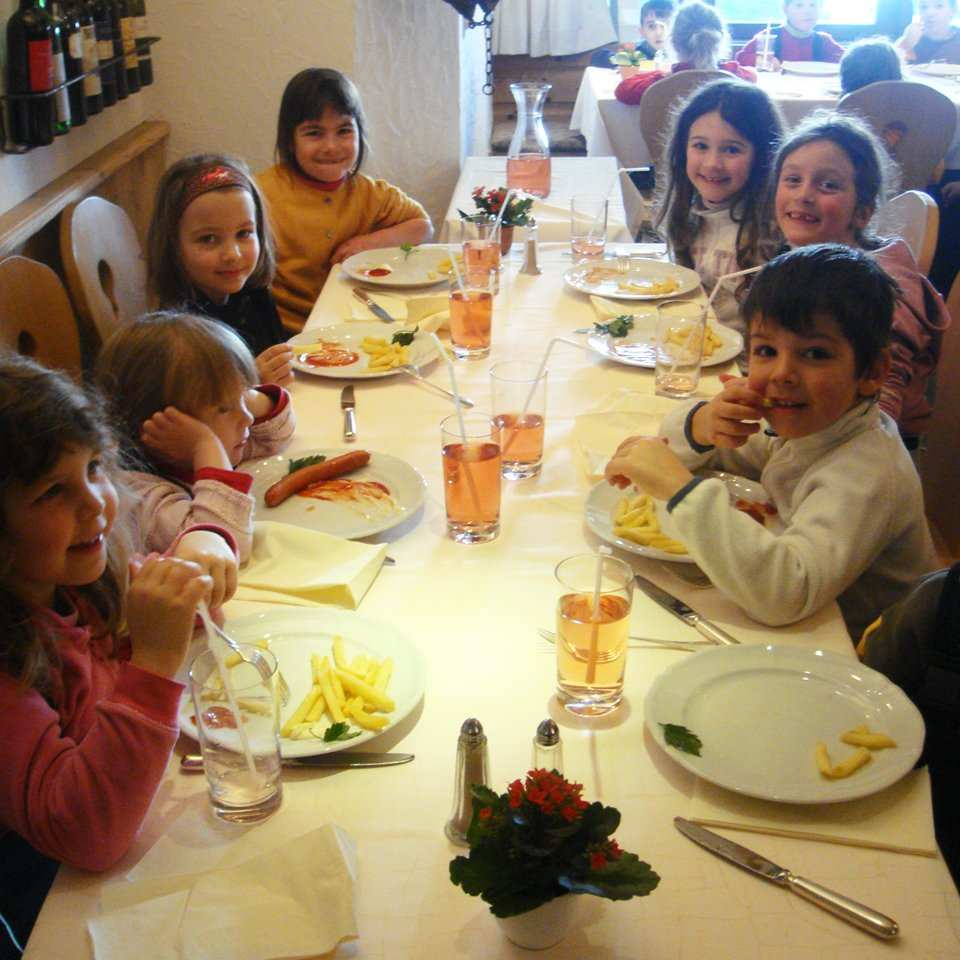 children's dinner in the playroom